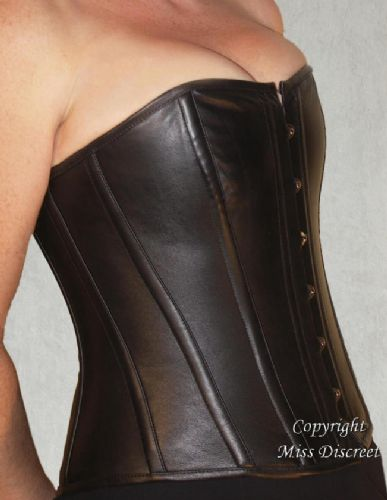 Genuine Leather Jet Black Steel Boned Waist Cinching Overbust Corset